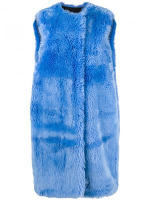 Удлиненный жилет из искусственного меха MSGM. Цвет: синий