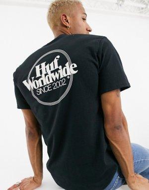 Черная футболка с логотипом -Черный цвет HUF