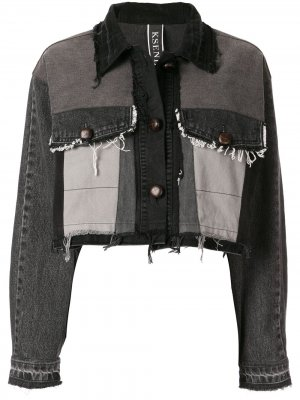 Укороченная джинсовая куртка Kseniaschnaider. Цвет: серый