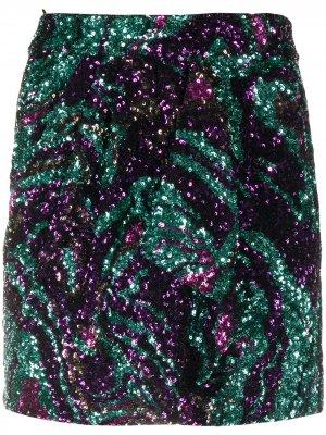 Юбка мини с блестками Amen. Цвет: зеленый