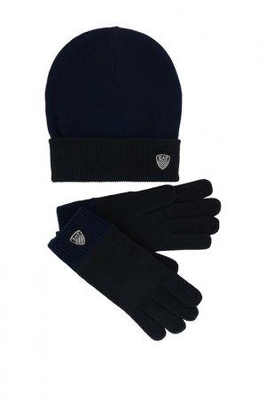 Комплект: перчатки, шапка Ea7. Цвет: синий