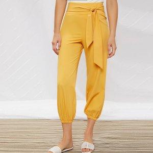 Короткие брюки-галифе с узлом SHEIN. Цвет: жёлтые