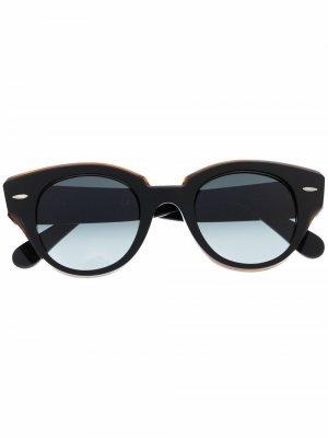 Солнцезащитные очки в круглой оправе Ray-Ban. Цвет: черный