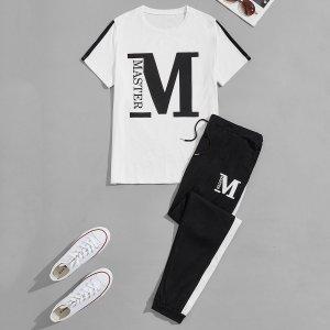 На кулиске буква Повседневный Мужской Комплект из двух предметов SHEIN. Цвет: черный и белый