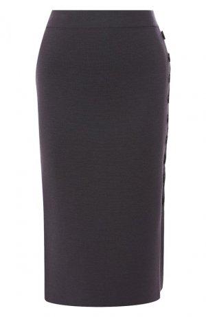 Шерстяная юбка Cruciani. Цвет: серый