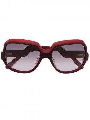 Солнцезащитные очки pre-owned в массивной оправе с логотипом Céline. Цвет: красный