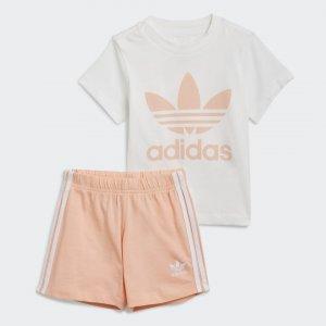 Комплект: футболка и шорты Trefoil Originals adidas. Цвет: белый