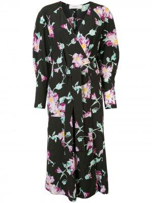 Платье Quinn с запахом и цветочным принтом A.L.C.. Цвет: черный