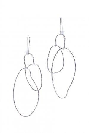 Серебристые серьги с подвесками-овалами Aqua. Цвет: серебряный