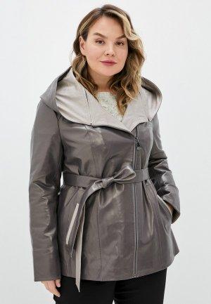 Куртка кожаная Снежная Королева. Цвет: серый