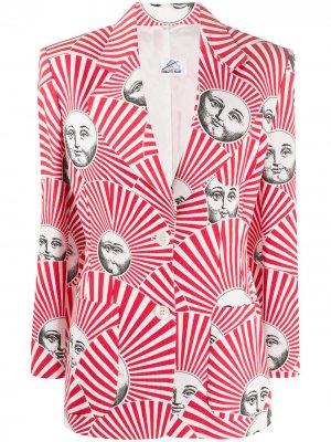 2000s striped face print blazer Fornasetti Pre-Owned. Цвет: белый
