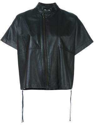 Кожаная куртка с короткими рукавами Diesel Black Gold. Цвет: чёрный