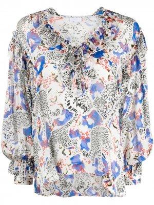 Блузка Blanka с анималистичным принтом Lala Berlin. Цвет: синий