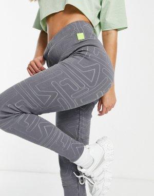 Серые леггинсы со сплошным логотипом -Серый Fila