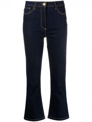Расклешенные укороченные джинсы Elisabetta Franchi. Цвет: синий