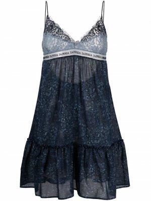 Ночная сорочка с кружевом La Perla. Цвет: синий