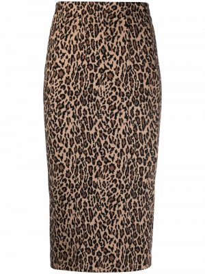 Leopard-print fitted skirt Pinko. Цвет: коричневый