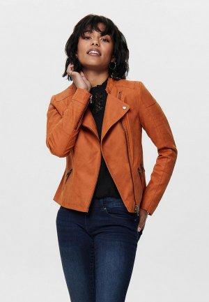 Куртка кожаная Only. Цвет: оранжевый