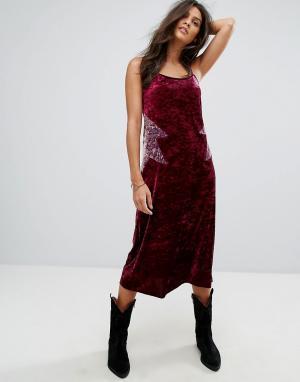 Бархатное платье-комбинация миди Anna Sui. Цвет: мульти