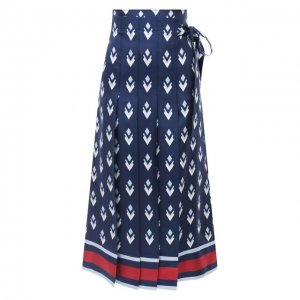 Шелковая юбка Valentino. Цвет: синий