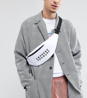Белая сумка-кошелек на пояс с принтом Crooked Tongues. Цвет: белый