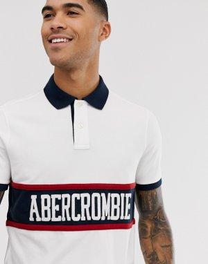 Белое поло с контрастными вставками и логотипом на груди -Белый Abercrombie & Fitch