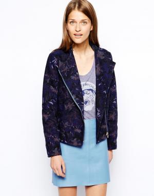 Джинсовая куртка без воротника с принтом See By Chloe. Цвет: navy multi floral