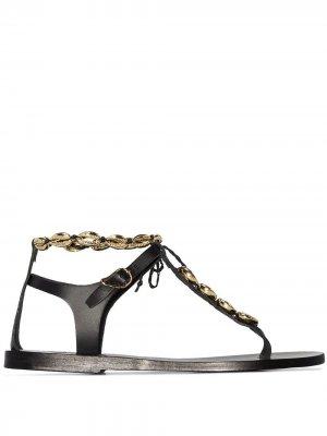 Декорированные сандалии Chrysso Ancient Greek Sandals. Цвет: черный