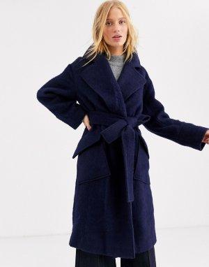 Шерстяное пальто с поясом -Темно-синий ASOS WHITE