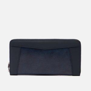 Кошелек Essential Leather Round Zipper Master-piece. Цвет: синий