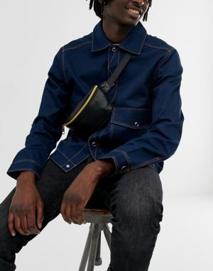 Черная сумка-кошелек на пояс с мятым эффектом -Черный Mi-Pac