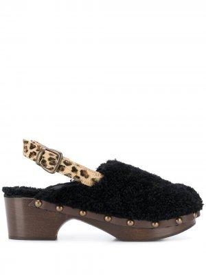 Туфли-лодочки с леопардовым принтом Avec Modération. Цвет: черный