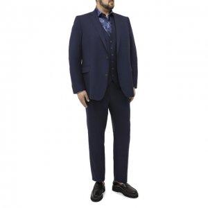 Шерстяной костюм-тройка Eduard Dressler. Цвет: синий