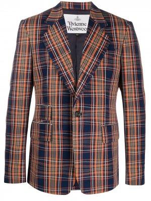 Клетчатый пиджак узкого кроя Vivienne Westwood. Цвет: синий