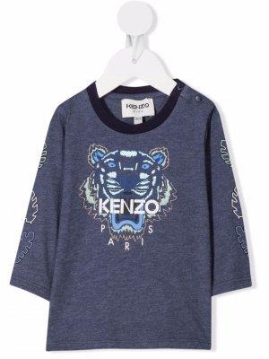 Tiger-motif long-sleeved T-shirt Kenzo Kids. Цвет: синий