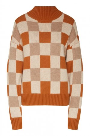 Пуловер в клетку Akhmadullina DREAMS. Цвет: желтый