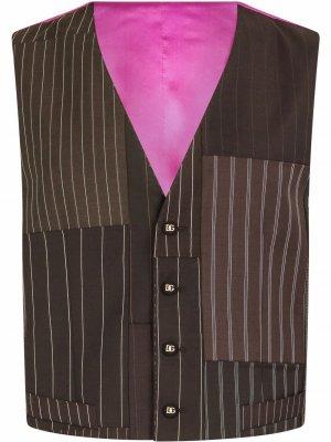 Полосатый жилет в технике пэчворк Dolce & Gabbana. Цвет: коричневый