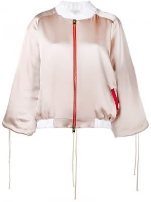 Атласная куртка-бомбер I Can And Will Natasha Zinko. Цвет: телесный