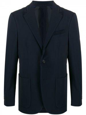 Однобортный пиджак строгого кроя Traiano Milano. Цвет: синий