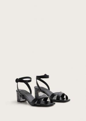 Босоножки на каблуке с ремешками - Guspini Mango. Цвет: черный