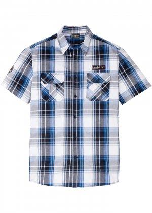 Рубашка Slim Fit с коротким рукавом bonprix. Цвет: синий