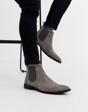 Серые замшевые ботинки челси с подошвой черного цвета -Серый ASOS DESIGN