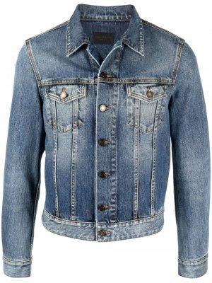 Джинсовая куртка узкого кроя Saint Laurent. Цвет: синий