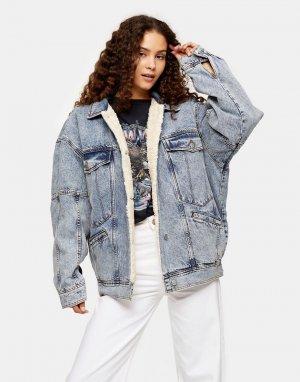 Голубая джинсовая куртка в стиле oversized с подкладкой из искусственного меха -Коричневый цвет Topshop