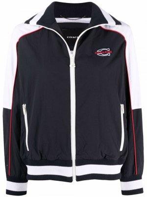 Спортивная куртка с вышитым логотипом Coach. Цвет: синий