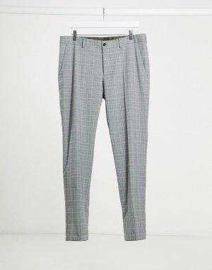Серые зауженные брюки в клетку -Серый Esprit