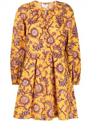 Платье мини с цветочным принтом A.L.C.. Цвет: желтый
