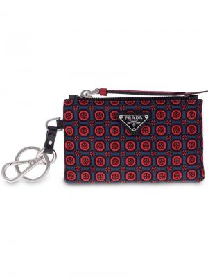Футляр для ключей из кожи Saffiano Prada. Цвет: красный