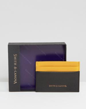 Черная кожаная классическая кредитница с контрастной отделкой Smith An And Canova. Цвет: черный
