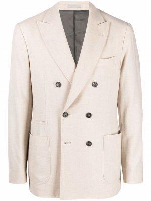 Двубортный пиджак Brunello Cucinelli. Цвет: нейтральные цвета